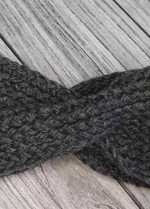 Серая повязка на голову - вязаная повязка на голову