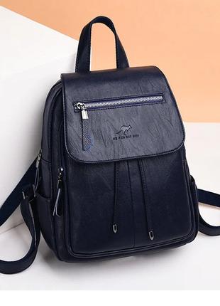Женский кожаный стильный темно-синий рюкзак шкіряний ранець женская сумка 2 в 1