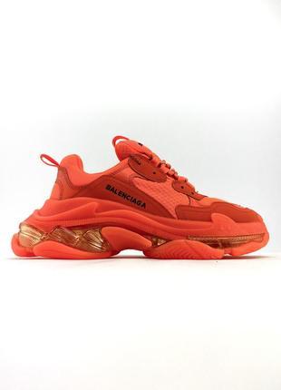 Яркие оранжевые женские кроссовки( triple s clear sole orange)