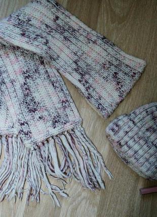 Трендовый качественный набор шапка и шарф от loman крупной вязки. очень дёшево