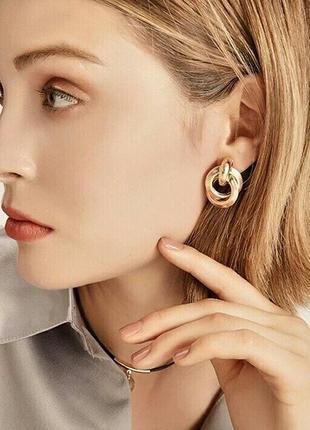 Серьги крученые кольца, модные, под золото