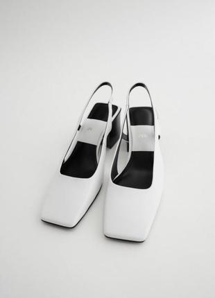 Туфлі zara із відкритою п'ятою білі шкіра