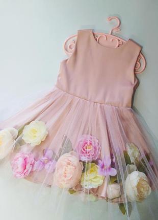 Цветочное нарядное платье