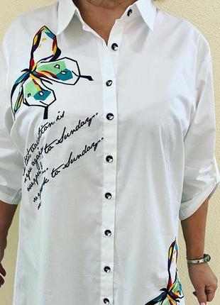 Шикарные рубашки блузоны с вышивкой гладью италия супер батал