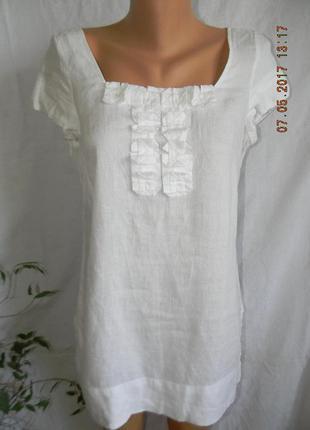 Белая блуза лен marks & spencer