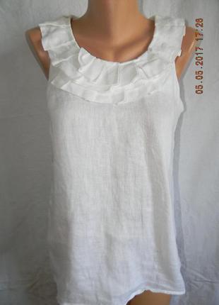 Белая блуза лен next