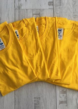 Желтая базовая футболка 100% хлопок размеры