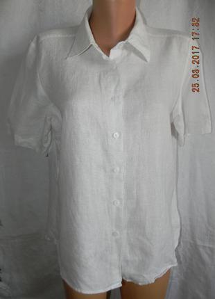 Белая блуза-рубашка лен marks & spencer