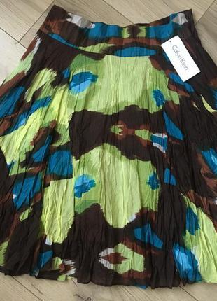 Летняя юбка calvin klein из хлопка и шелка