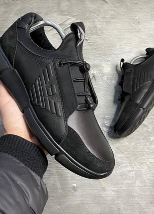 Мужские кожаные кеды кроссовки натуральная кожа