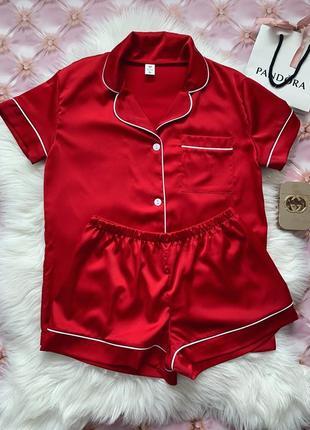 ❤️👩❤️👨 атласная/шёлковая красная пижама шорты и рубашка хс-л