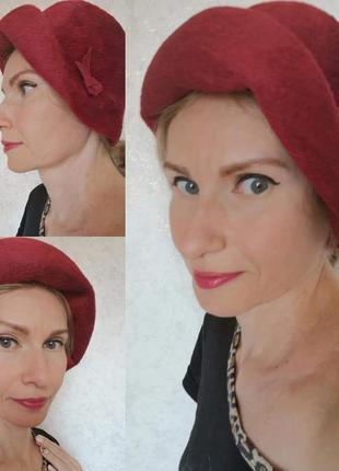 Раритетная фетровая винтажная ретро шляпка шляпа капелюх винтаж фетр пух эксклюзив