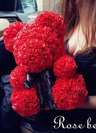 Мишка из 3d роз 25 см в красивой подарочной упаковке мишка тедди из роз