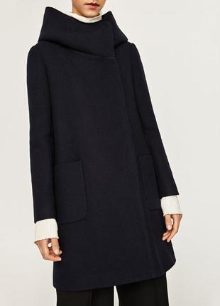 Zara нове темно-синє стильне пальто з капішоном розмір м.заходьте на сторіночку
