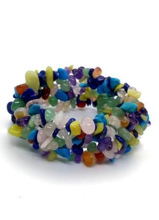 💙💜 широкий браслет-резинка натуральный камень ассорти крошка