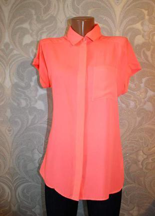 Блуза рубашка без рукавов бледно-неоновый оранжевый цвет. современно!