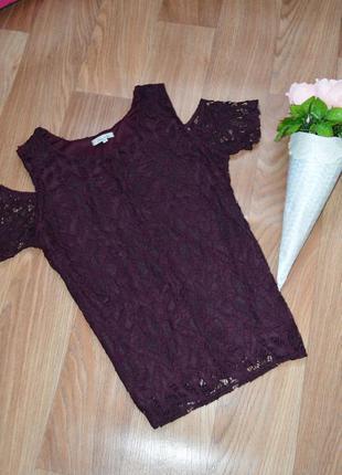 Шикарная блуза гипюр цвета марсала от asos*