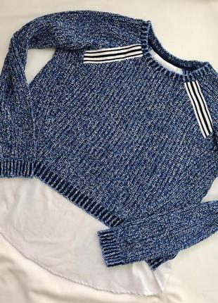 Синий оригинальный свитер