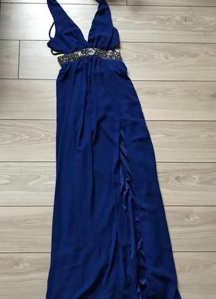Длинное в пол шифоновое платье с открытой спиной шнуровкой разрезом декольте xs