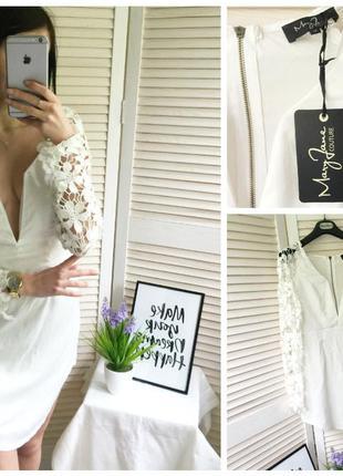 Новое белое платье с кружевом mary jane