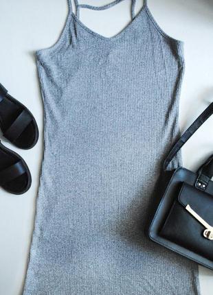 Актуальное облегающее серое платье от topshop
