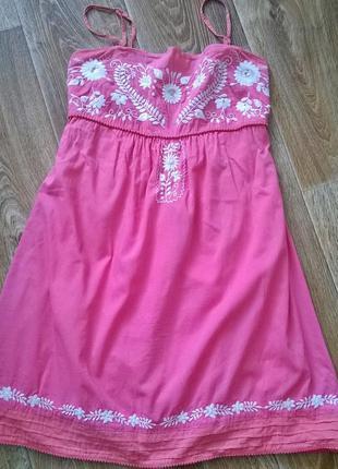 Красивенный розовый сарафан с вышивкой