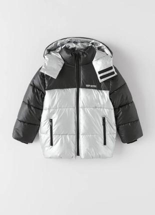 Куртка zara р.116-152 оригинал, курточка стеганая, серебро фольга, серебряная