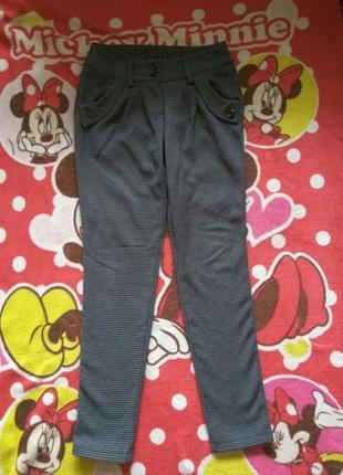 Классные стильные теплые брюки клетка, 36р. смотрите замеры.