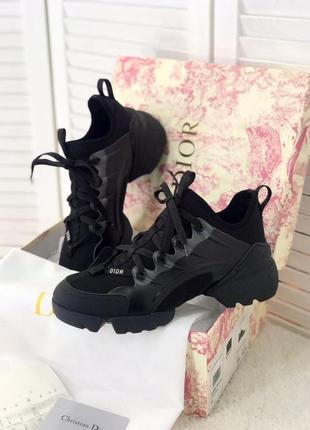 Женские шикарные кроссовки dіоr d connect black / премиум качество натуральная кожа