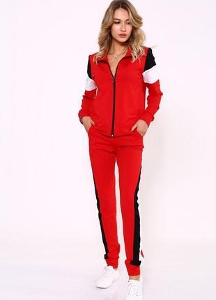 Красный повседневный спортивный костюм на молнии,с лампасами,все размеры