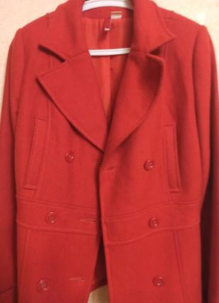 Шерстяное двубортное теплое пальто 46,48 м