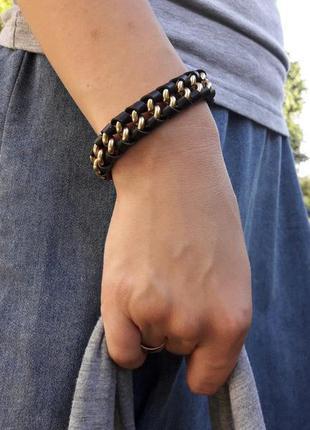 Кожаный плетеный браслет от pilgrim