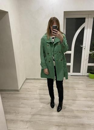 Yessica-плащ-трэнч☘️бледно зелёный плащ средней длинны