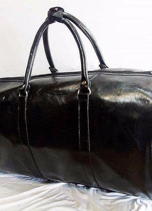 Черная богатая дорожная сумка эко кожа доставка бесплатно киев саквояж