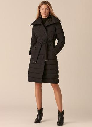 Стёганное женское пальто чёрного цвета тренд 21 года