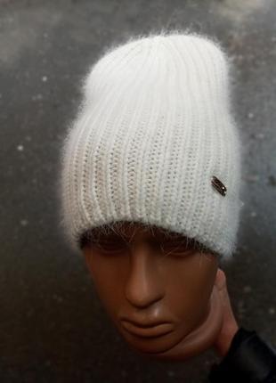 Стильная белая шапка лопата бини трансформер шерсть ангора на флисе распродажа