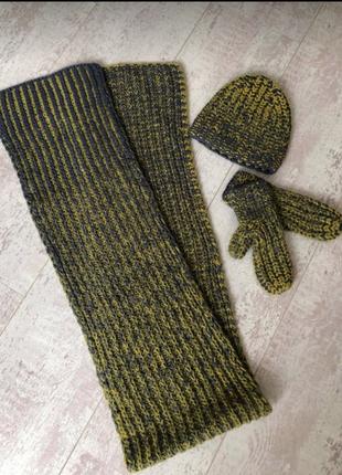 Мужская шапка шарф варежки cos шерсть 100%