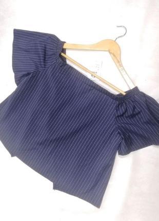 Кофта, блузка на плечах с открытой спиной синяя в полоску