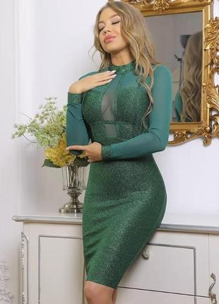 Платье бандажное изумруд