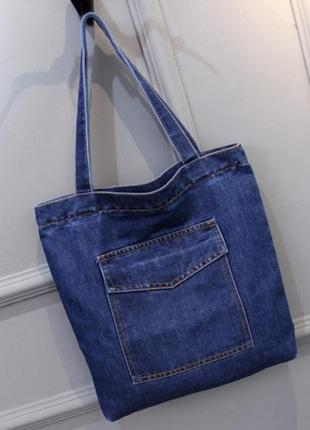 Женская джинсовая сумка шопер голубая синяя3 фото