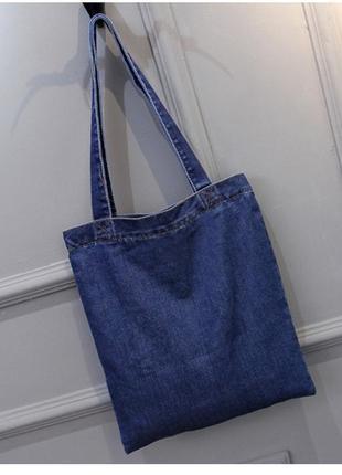 Женская джинсовая сумка шопер голубая синяя4 фото