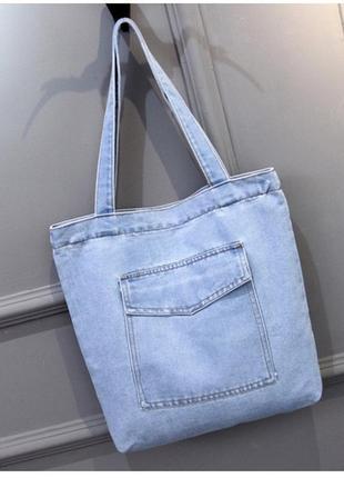 Женская джинсовая сумка шопер голубая синяя1 фото