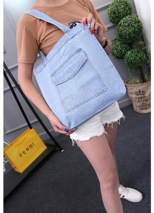 Женская джинсовая сумка шопер голубая синяя2 фото