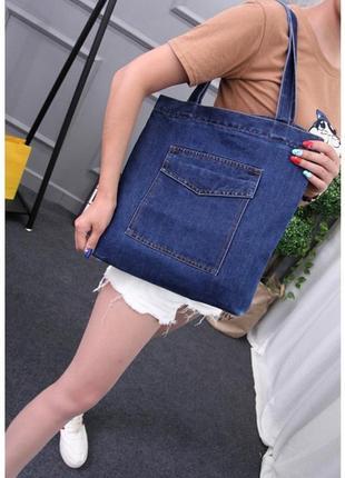 Женская джинсовая сумка шопер голубая синяя5 фото