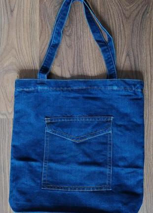 Женская джинсовая сумка шопер голубая синяя9 фото