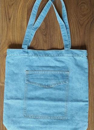 Женская джинсовая сумка шопер голубая синяя10 фото