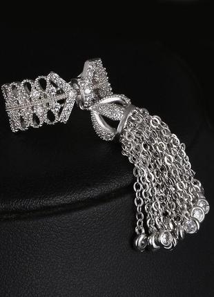 Роскошное кольцо кисть с цирконами