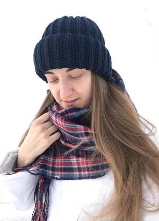 Тёплый набор, синяя шапка и шарф в клетку