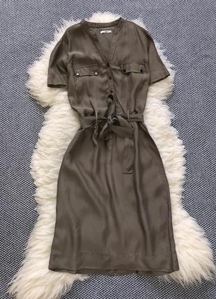 Длинное платье миди сарафан хаки пояс ремень рубашка
