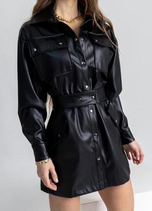 Платье на кнопках с поясом эко кожа на флисе с карманами